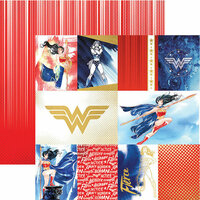 Paper House Productions - Wonder Woman Collection - 12 x 12 Double Sided Paper with Foil Accents - Wonder Woman - Tags