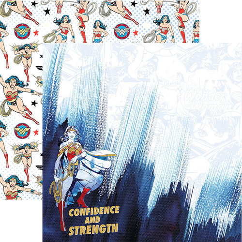 Paper House Productions - Wonder Woman Collection - 12 x 12 Double Sided Paper with Foil Accents - Confidence and Strength