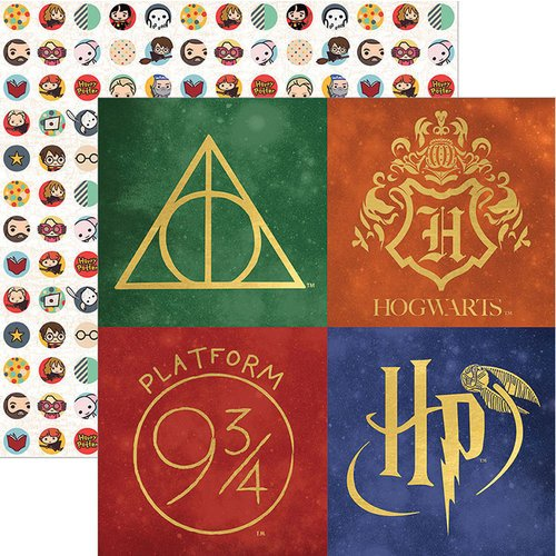 Paper House Productions - Harry Potter Collection - 12 x 12 Double Sided Paper with Foil Accents - Harry Potter - Icons