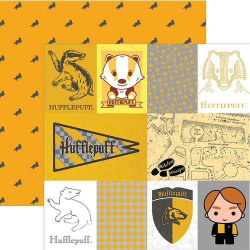 Paper House Productions - Harry Potter Collection - 12 x 12 Double Sided Paper with Foil Accents - Harry Potter Hufflepuff - Tags