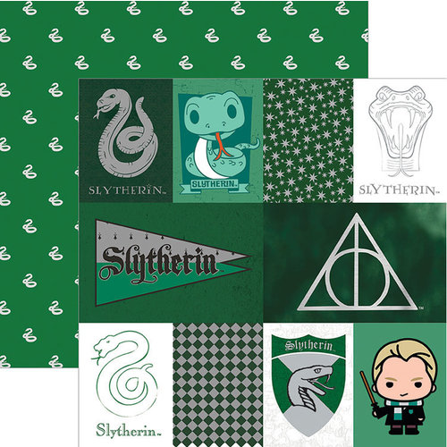 Paper House Productions - Harry Potter Collection - 12 x 12 Double Sided Paper with Foil Accents - Harry Potter Slytherin - Tags