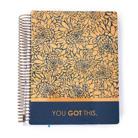 Paper House Productions - Planner - 12 Month - Undated - Brass Dahlia with Navy Background with Foil Accents