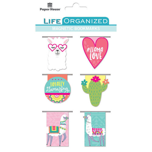 Paper House Productions - Life Organized Collection - Magnetic Bookmarks - Llamas