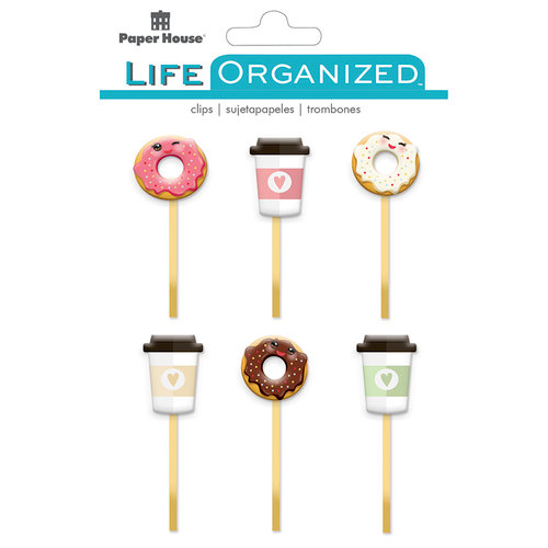 Paper House Productions - Life Organized Collection - Epoxy Clips - Coffee and Donuts