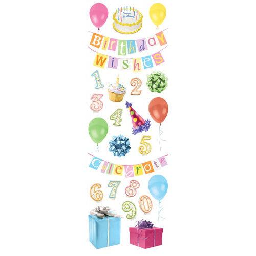 Paper House Productions - Birthday Collection - Glitter Rub Ons - Birthday