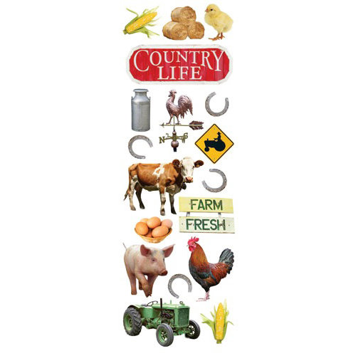 Paper House Productions - Farm Collection - Glitter Rub Ons - Country Life
