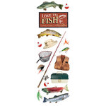 Paper House Productions - Fishing Collection - Glitter Rub Ons - Love to Fish
