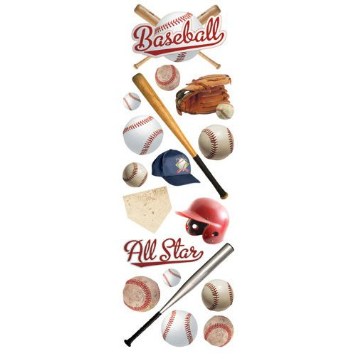 Paper House Productions - Baseball Collection - Glitter Rub Ons - Baseball