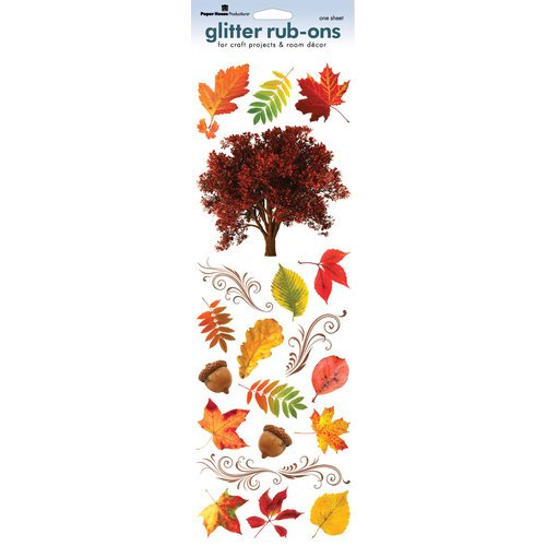 Paper House Productions - Autumn Collection - Glitter Rub Ons - Autumn Leaves