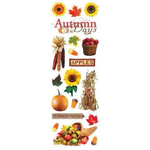 Paper House Productions - Autumn Collection - Glitter Rub Ons - Autumn Days