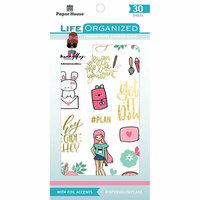 Paper House Productions - Life Organized Collection - Sticker Book with Foil Accents - Productivity