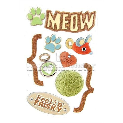 Paper House Productions - Cat Collection - 3 Dimensional Chipboard Stickers with Bling and Glitter Accents - Meow