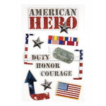 Paper House Productions - Military Collection - 3 Dimensional Chipboard Stickers with Bling and Glitter Accents - American Hero