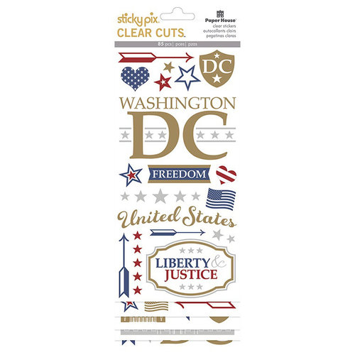 Paper House Productions - StickyPix - Clear Stickers - Washington DC with Foil Accents