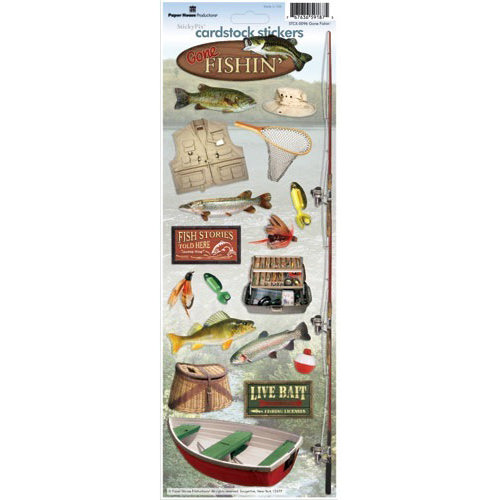 Paper House Productions - Fishing Collection - Cardstock Stickers - Gone Fishin'