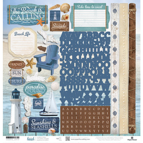 Paper House Productions - At the Beach Collection - 12 x 12 Cardstock Stickers
