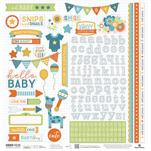 Paper House Productions - Hello Baby Boy Collection - 12 x 12 Cardstock Stickers