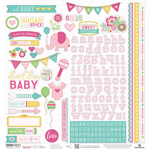 Paper House Productions - Hello Baby Girl Collection - 12 x 12 Cardstock Stickers