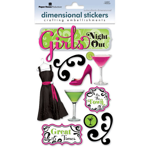Paper House Productions - Girl's Night Out Collection - 3 Dimensional Cardstock Stickers with Epoxy Bling Glitter and Glossy Accents - Girl's Night Out