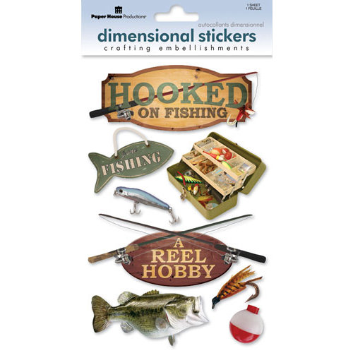 Paper House Productions Fishing 3D Cardstock Stickers Foil Glossy Accent Fishing