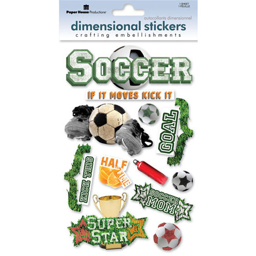 Paper House Productions - Soccer Collection - 3 Dimensional Cardstock Stickers with Glitter and Glossy Accents - Soccer