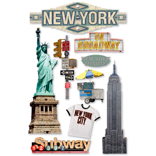 Paper House Productions - New York City Collection - 3 Dimensional Cardstock Stickers with Foil Bling and Glitter Accents - New York City