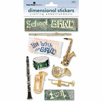 Paper House Productions - School Band Collection - 3 Dimensional Cardstock Stickers with Foil Glitter and Glossy Accents - School Band
