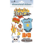 Paper House Productions - Born to Rock Collection - 3 Dimensional Cardstock Stickers with Flocked and Glossy Accents - Born to Rock