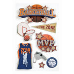 Paper House Productions - Basketball Collection - 3 Dimensional Cardstock Stickers with Foil and Glossy Accents - Basketball