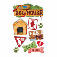 Paper House Productions - Dog Collection - 3 Dimensional Cardstock Stickers with Foil Glitter and Glossy Accents - Dog