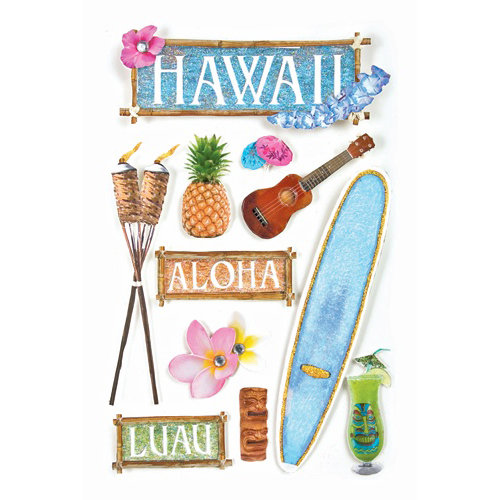 Paper House Productions - Hawaii Collection - 3 Dimensional Cardstock Stickers with Bling Glitter and Glossy Accents - Hawaii