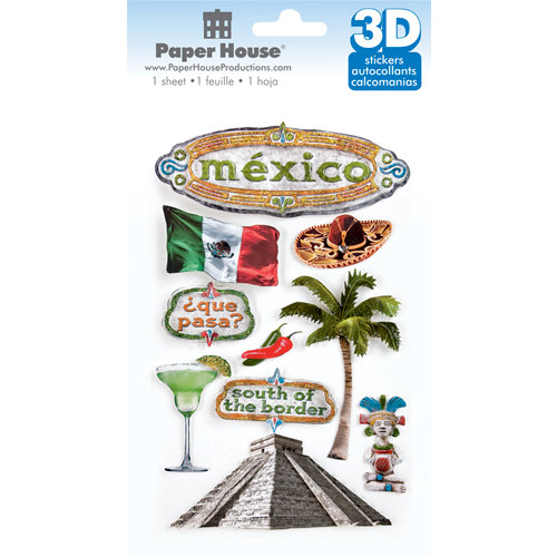 Paper House Productions - Mexico Collection - 3 Dimensional Cardstock Stickers with Bling and Glitter Accents - Mexico