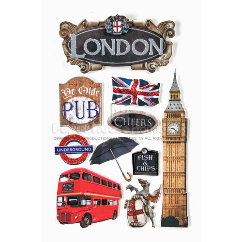 Paper House Productions - London Collection - 3 Dimensional Cardstock Stickers with Bling Foil and Glitter Accents - London