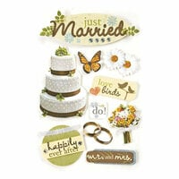 Paper House Productions - Just Married Collection - 3 Dimensional Cardstock Stickers with Bling Foil and Glitter Accents - Just Married
