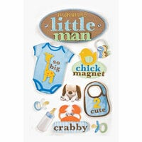 Paper House Productions - Baby Boy Collection - 3 Dimensional Cardstock Stickers with Bling Flocked and Glossy Accents - Little Man