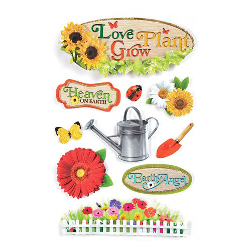 Paper House Productions - Gardening Collection - 3 Dimensional Cardstock Stickers with Foil Glitter and Glossy Accents- Gardening