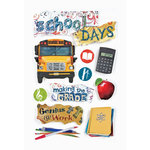 Paper House Productions - School Collection - 3 Dimensional Cardstock Stickers with Epoxy Foil Glitter and Glossy Accents - School Days