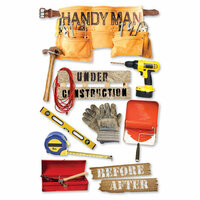 Paper House Productions - Handyman Collection - 3 Dimensional Cardstock Stickers - Handyman