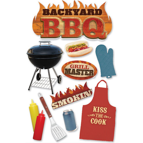Paper House Productions - BBQ Collection - 3 Dimensional Cardstock Stickers - BBQ