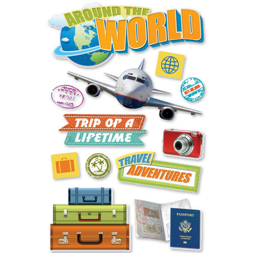 Paper House Productions - World Travel Collection - 3 Dimensional Cardstock Stickers - World Travel