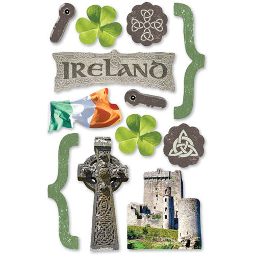 Paper House Productions - Ireland Collection - 3 Dimensional Chipboard Stickers - Ireland