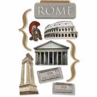 Paper House Productions - Rome Collection - 3 Dimensional Chipboard Stickers - Rome