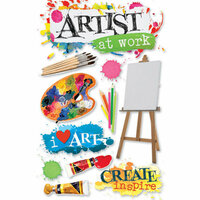 Paper House Productions - 3 Dimensional Cardstock Stickers - Art Class