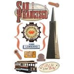 Paper House Productions - San Francisco Collection - 3 Dimensional Cardstock Stickers - San Francisco