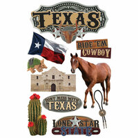 Paper House Productions - Texas Collection - 3 Dimensional Cardstock Stickers - Texas