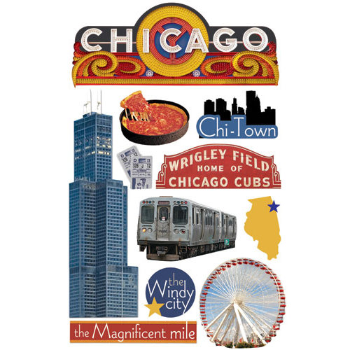 Paper House Productions - Chicago Collection - 3 Dimensional Cardstock Stickers - Chicago
