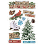 Paper House Productions - 3 Dimensional Cardstock Stickers with Glitter and Jewel Accents - Winter Wonderland
