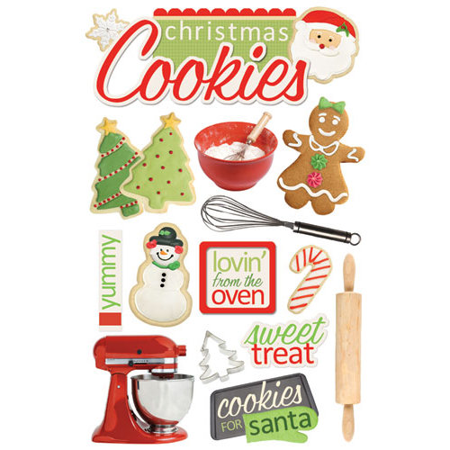 Paper House Productions - Christmas - 3 Dimensional Cardstock Stickers with Foil and Glitter Accents - Christmas Cookies