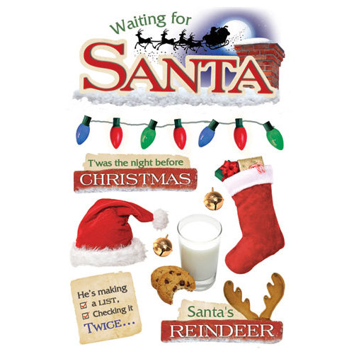 Paper House Productions - Christmas - 3 Dimensional Cardstock Stickers with Foil Gem and Glitter Accents - Waiting For Santa