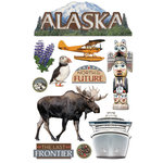 Paper House Productions - Alaska Collection - 3 Dimensional Cardstock Stickers with Foil and Glitter Accents - Alaska